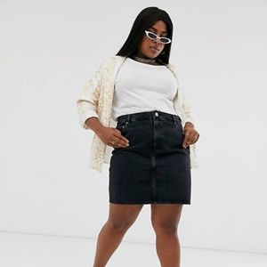 Asos Denim Black Stone Wash Plus Size Pencil Skirt